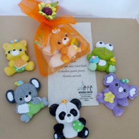 cod.MAN6 Magnete animaletti, 6 soggetti assortiti: panda,rana,cane,gatto,koala,topino