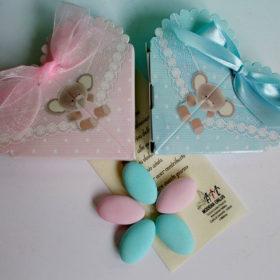 COD.NB810 Scatolina cuore in cartoncino con elefantino – disponibile nei colori celeste o rosa