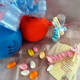 cod. NB7040 Tubo nascita in vetro contenente 12 confetti