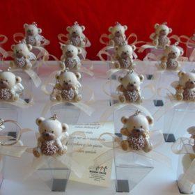 bomboniere solidali cod.VSOR24 Vassoio completo di 24 portachiavi orsetto confezionati su conetto in pvc contenente 5 confetti