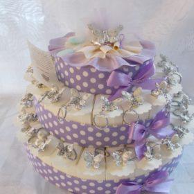 COD.TR18FF torta portachiavi farfalla 18 fette + soggetto centrale anche solo fette , minimo ordine pz.10