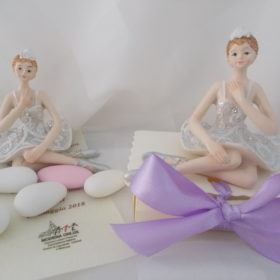 Cod.BLR6 Ballerina in resina glitterata su cartoncino - 2 soggetti assortiti