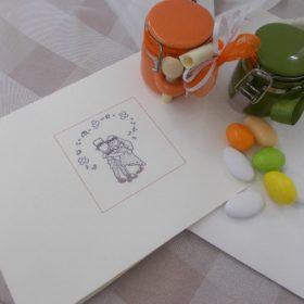 PRCS Partecipazione in cartoncino pregiato colore bianco o panna immagine Sposini cm21x15 con busta