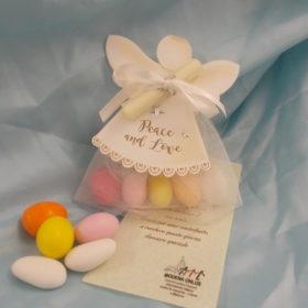 cod.RR6110 Portaconfetti angelo in cartoncino con tulle bianco