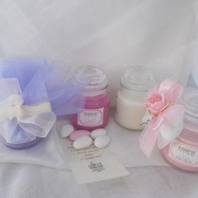 cod.VS3050 Vasetto vetro con Cera con tappo a cupola cm.8x5 - 4 profumazioni Floreali assortite lilla', rosa, lavanda, cannella