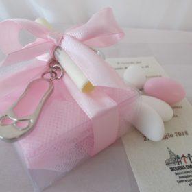 cod.PCH1070 portachiavi scarpetta ballerina in acciaio smaltato rosa