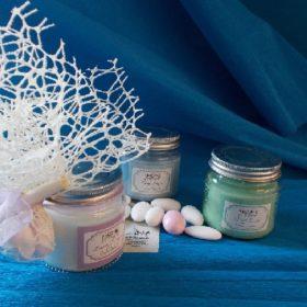 cod.CR3240 Vasetto con candela - 3 profumazioni assortite lavanda provenzale-brezza oceanica-alberi forestali - cm. 6,5x6,5