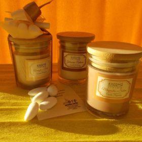 cod.CR3250 Vasetto con candela profumata - 3 profumazioni asssortite magnolia salvia-vaniglia mirra-gelsomino - cm. 8x5,5