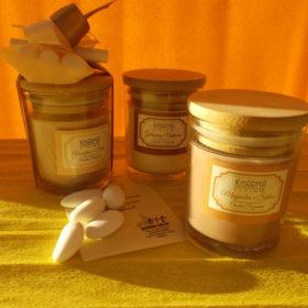 cod.CR3250 Vasetto con cera profumata - 3 profumazioni asssortite magnolia salvia-vaniglia mirra-gelsomino - cm. 8x5,5