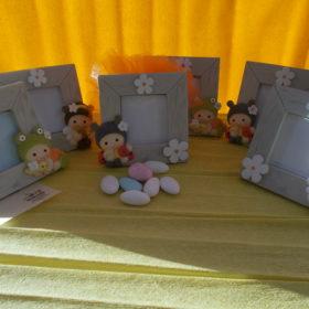 cod.PFBMB Portafoto pigiama party -6 soggetti assortiti -cm. 9,5x9 - dimensione foto cm.5,5x5,5