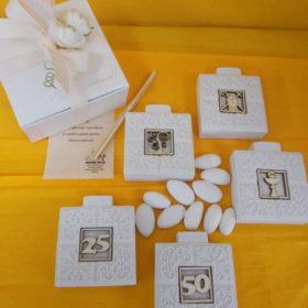 cod.PR10 Profumatore in resina con box - a scelta teca porta ostie-bastone pastorale e tiara-albero della vita-anniversario oro e argento - cm. 6,5x6,5