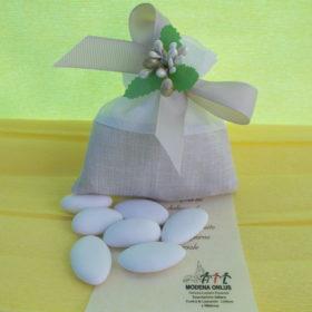 cod.SCH9000 Sacchettino in cotone bicolore tortora e bianco - decoro a scelta