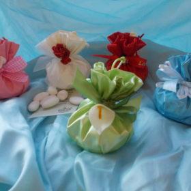 cod.SCH9020 Sacchettino in tessuto lucido 5 colori a scelta- bianco-verde-rosa-celeste-rosso