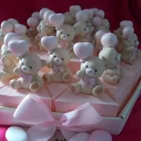 cod.TR24ORS Vassoio orsetti con palloncino - 24 fette -disponibile nei colori rosa e azzurro