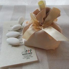 cod.SCH9010 Sacchettino in tessuto champagne fondo tondo
