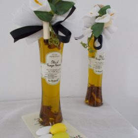 cod.OLEV100 Ampolla contenente 100ml di olio di origine toscana - gusto a scelta rosmarino o funghi porcini - etichetta personalizzabile
